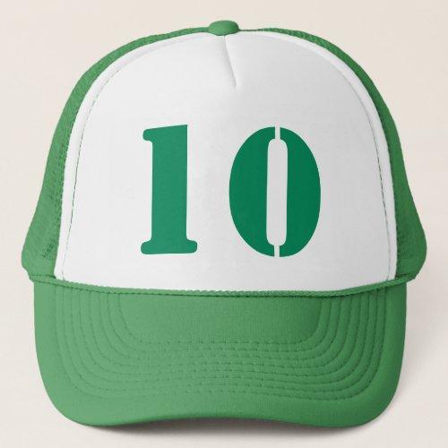 Monograma of order soles in white number 10 trucker hat