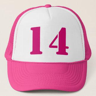 Monograma of order soles in white number 14 trucker hat