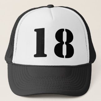 Monograma of order soles in white number 18 trucker hat