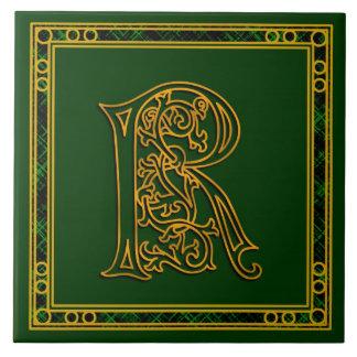 "Monograma ""oro irlandés de R en"" la baldosa Azulejo Cuadrado Grande"