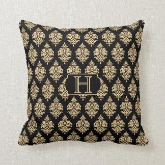 Monograma, oro, negro, almohada de tiro del modelo