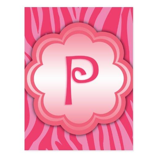 Monograma P del estampado de zebra de las rosas fu Postal
