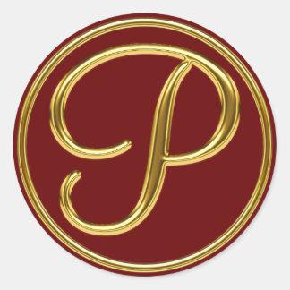 Monograma P en el oro 3D Pegatina Redonda