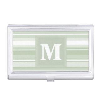 Monograma pálido - rayas verdes cajas de tarjetas de negocios