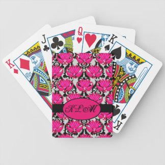 Monograma parisiense gris negro rosado fucsia del  barajas de cartas