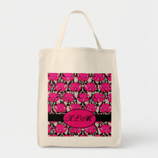 Monograma parisiense gris negro rosado fucsia del  bolsa de mano