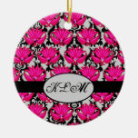 Monograma parisiense gris negro rosado fucsia del  adornos