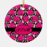 Monograma parisiense gris negro rosado fucsia del  ornamento para arbol de navidad