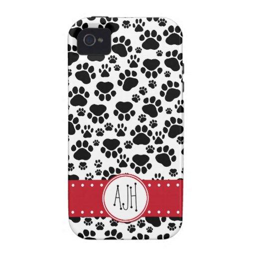 Monograma - patas del perro, rastros - rojo negro vibe iPhone 4 carcasa
