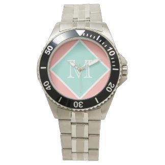 Monograma perfecto del melocotón, de la verde reloj