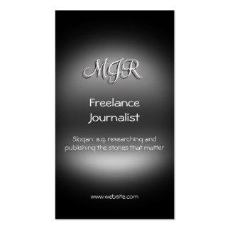 Monograma, periodista independiente, metal-mirada tarjetas de visita