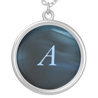 Monograma personalizado azul colgante redondo