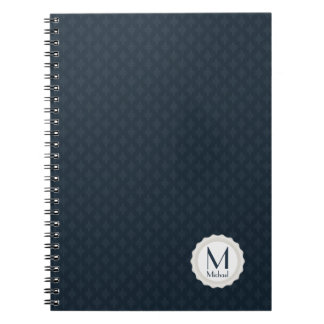Monograma personalizado azules marinos clásicos spiral notebook