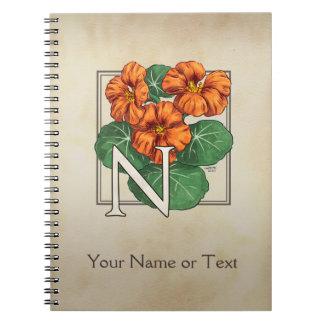 Monograma personalizado capuchinas de la flor libros de apuntes