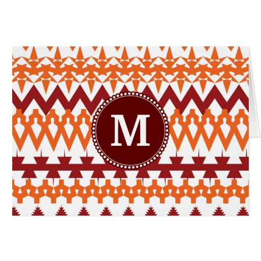 Monograma personalizado Chevron tribal anaranjado  Felicitacion