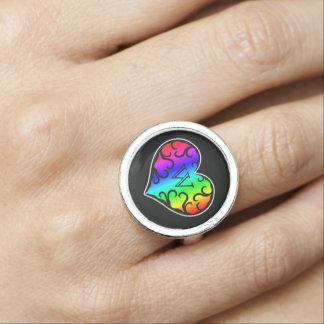Monograma personalizado corazón lindo del arco anillo con foto