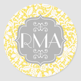 Monograma personalizado cordón amarillo elegante pegatina redonda