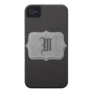 Monograma personalizado cuero negro retro iPhone 4 protector