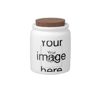 Monograma personalizado de plantilla en blanco en jarra para caramelo