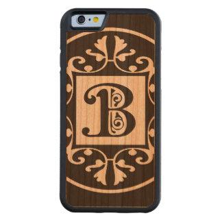Monograma personalizado decorativo B Funda De iPhone 6 Bumper Cerezo