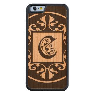 Monograma personalizado decorativo C Funda De iPhone 6 Bumper Cerezo