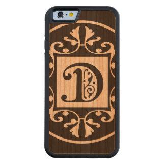 Monograma personalizado decorativo D Funda De iPhone 6 Bumper Cerezo