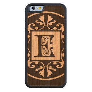 Monograma personalizado decorativo E Funda De iPhone 6 Bumper Cerezo