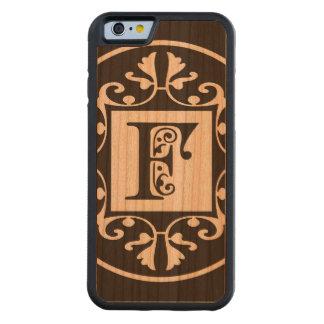 Monograma personalizado decorativo F Funda De iPhone 6 Bumper Cerezo