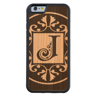 Monograma personalizado decorativo J Funda De iPhone 6 Bumper Cerezo