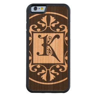 Monograma personalizado decorativo K Funda De iPhone 6 Bumper Cerezo
