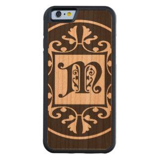 Monograma personalizado decorativo M Funda De iPhone 6 Bumper Cerezo