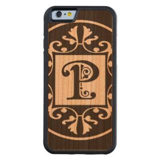 Monograma personalizado decorativo P Funda De iPhone 6 Bumper Cerezo