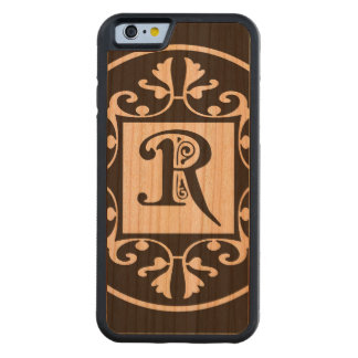 Monograma personalizado decorativo R Funda De iPhone 6 Bumper Cerezo
