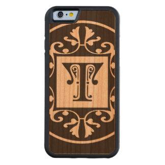 Monograma personalizado decorativo T Funda De iPhone 6 Bumper Cerezo