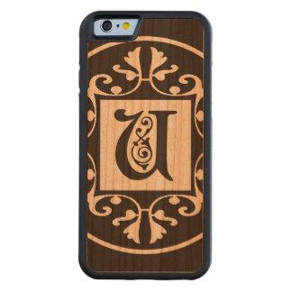 Monograma personalizado decorativo U Funda De iPhone 6 Bumper Cerezo
