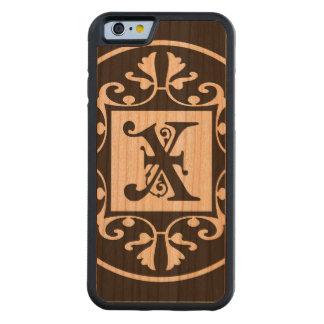 Monograma personalizado decorativo X Funda De iPhone 6 Bumper Cerezo
