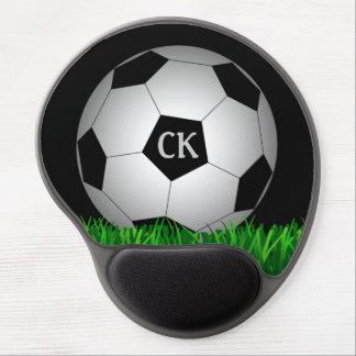 Monograma personalizado del balón de fútbol alfombrilla de ratón con gel