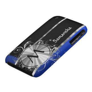 Monograma personalizado del negro azul y de la iPhone 3 Case-Mate cárcasa