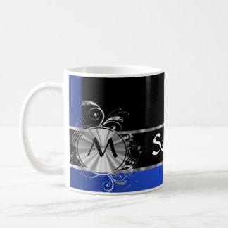 Monograma personalizado del negro azul y de la taza básica blanca