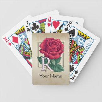 Monograma personalizado del rosa rojo baraja de cartas