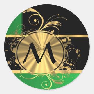 Monograma personalizado del verde y del oro pegatina redonda