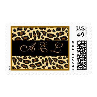 Monograma personalizado en la piel del leopardo sello
