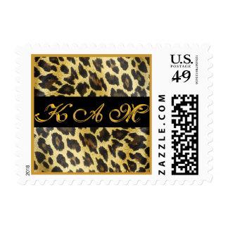 Monograma personalizado estampado leopardo sellos