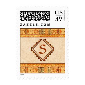 Monograma personalizado fiesta azteca sellos postales