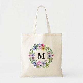 Monograma personalizado floral de la acuarela del bolsa tela barata