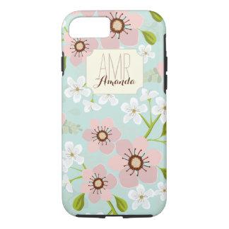 Monograma personalizado floral del jardín rosado funda iPhone 7