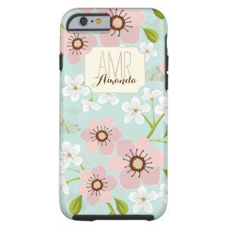 Monograma personalizado floral del jardín rosado funda resistente iPhone 6