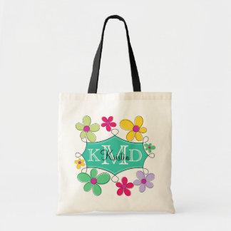 Monograma personalizado floral del marco verde del bolsa lienzo