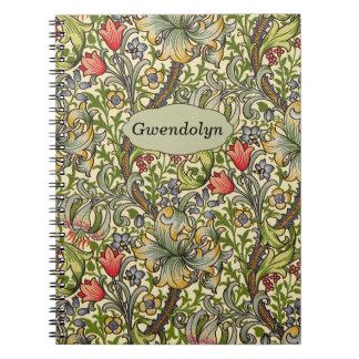Monograma personalizado floral del vintage de libretas espirales