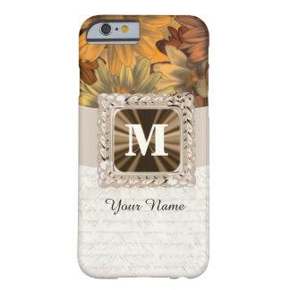 Monograma personalizado floral marrón de la caída funda de iPhone 6 barely there